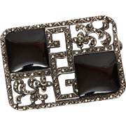 Art Deco Sterling, Onyx and Marcasite Pin