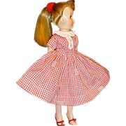 "SALE LMR 10 1/2"" Fashion doll unmarked red white checked dress heels"