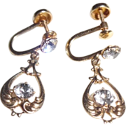 REDUCED Antique Edwardian 10K Gold Paste Dangle Earrings