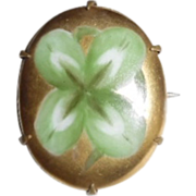 REDUCED Antique Victorian Hand Painted Good Luck 4 Leaf Clover Pin