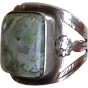 REDUCED Vintage Sterling Silver Polished Agate Ring