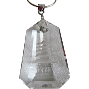 Vintage 1940-50's Japanese Cut Rock Crystal Pagoda Sterling Pendant Necklace