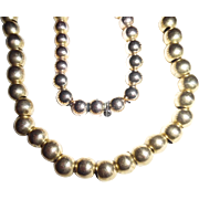 Antique Victorian Heavily Gold Plated Bead Necklace