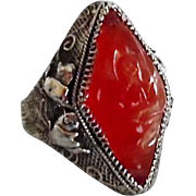 Beautiful Antique Chinese Sterling Carved Carnelian Adjustable Ring