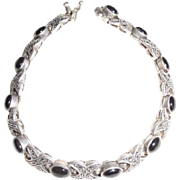 Vintage Art Deco Sterling Black Onyx Marcasite Bracelet