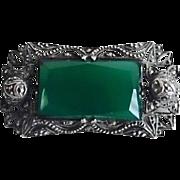 Vintage Art Deco Sterling Chrysoprase Marcasite Pin