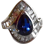Vintage  Sterling Synthetic Sapphire CZ Cocktail Ring