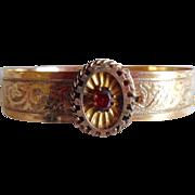 Beautiful Gold Filled Garnet Victorian Slide Bracelet