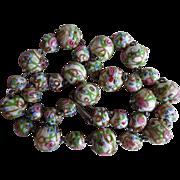 Vintage 1930's Venetian Wedding Cake Glass Bead Necklace