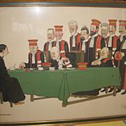 SALE Original ADRIEN BARRERE, FRENCH (1877-1931) Color Lithograph Court Scene
