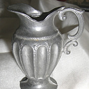 Doll Miniature Victorian Pewter Water Pitcher w Fluted Sides