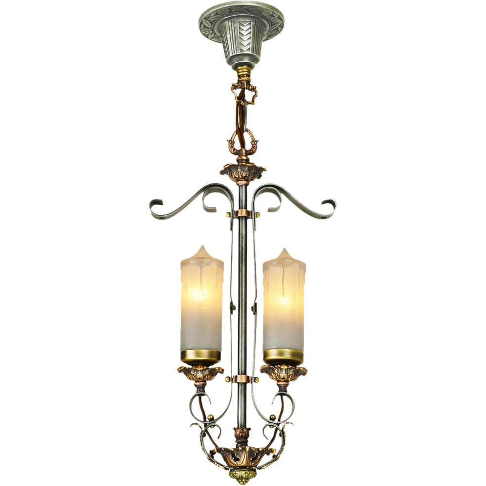 1920s Art Deco Candle Style 2 Light Pendant Ceiling