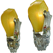 Art Deco Original Polychrome Wall Sconces Amber Slip Shades by Riddle (ANT-515)