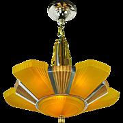 Streamline Art Deco 1930s Chandelier Mid-West Mnf 6 Light Beverly (ANT-525)