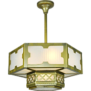 Arts and Crafts Gothic Style Hexagonal Ceiling Panel Light Chandelier (ANT-542)