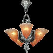 Art Deco Original 5 Light Slip Shade Ceiling Chandelier by Lincoln (ANT-543)