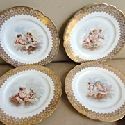 Set of Six Limoges Cabinet Plates with Cherubs Bailey, Banks, Biddle