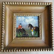 19th C. Folk Art Primitive Oil on Board Horses w/ Children