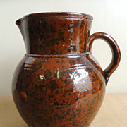Large 19th C. Redware Pitcher w/ Manganese Decoration