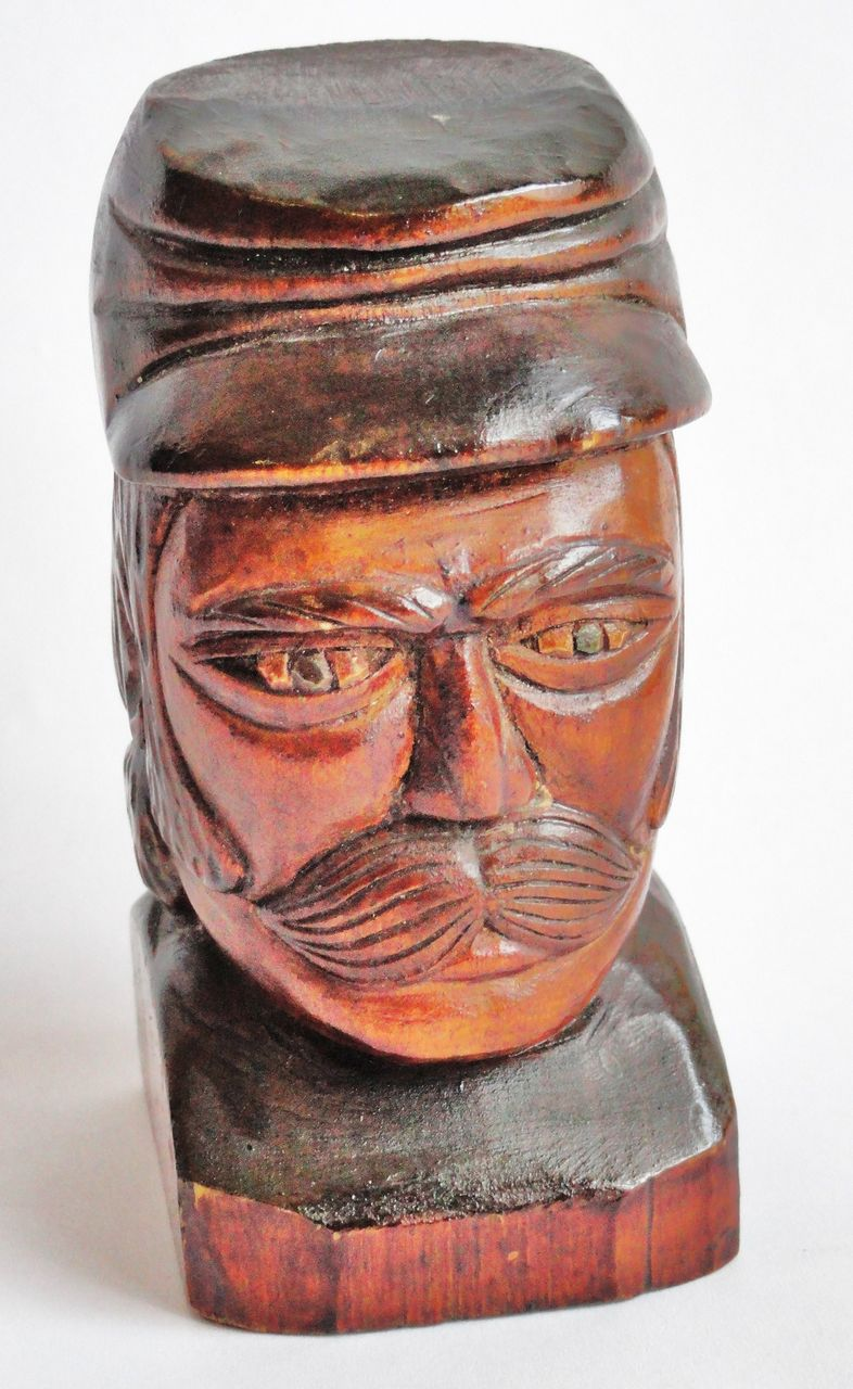 Small Folkart Hand Carved Civil War Soldier Bust