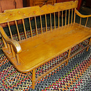 SALE 19th C. Paint Decorated Settee Bench w/ Birds