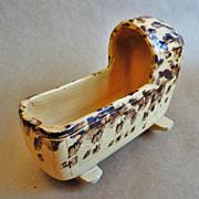 Rare 19th C. Yellow Ware Miniature Cradle