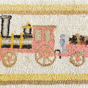 SALE 1930's Folk Art Train Hooked Rug signed Wells