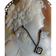 Vintage Gold Filled Shell Cameo w/ Diamond Broach or Pendant