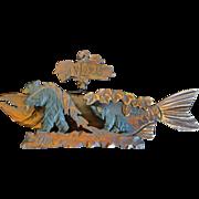 SOLD 1915 Alaska Carved Folk Art Wall Pocket w/ Fish and Bears