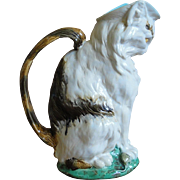 Very Rare 19th C. Majolica Cat with Mouse Pitcher