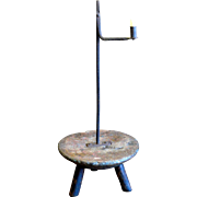 SOLD Early Iron Rush Candle Lamp Mounted on Stool