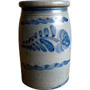 19th C. Western Pennsylvania Stoneware Crock with Freehand Decoration