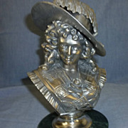 Silvered bronze bust