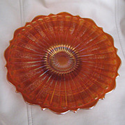 SOLD Eye Catching Marigold colored Fenton Carnival Glass Scale Band Plate