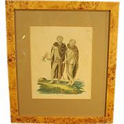 White Negroes 1816 Hand Colored Engraving Bird's Eye Maple Frame