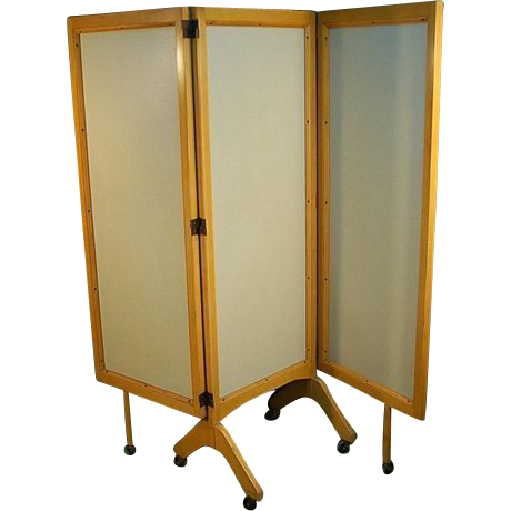 mid century modern rolling folding screen room divider