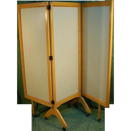mid century modern rolling folding screen room divider