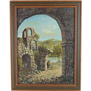 Vintage Oil Painting Castle or Mission Masonry Ruins Stone Arches