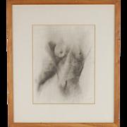 Vintage Pencil Drawing Nude Female Torso artist signed