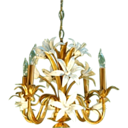 Italian Gilt Metal and Enameled White Lily Lilies Floral Flower Chandelier