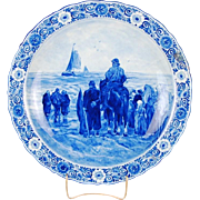 Lge Delft Porceleyne Fles Charger Jacob Maris Man on Horseback Farewell to Fleet