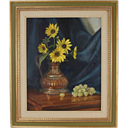 1960's Janet Wensley Kimberling Still Life Oil Painting Sunflowers & Grapes