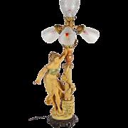 Art Nouveau Spelter Bronze 4-light Figural Newell Post Lamp after Moreau