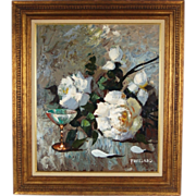 1950's Cliff Freeland Oil Painting Floral Still Life White Roses Champagne Glass