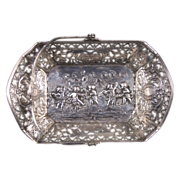 Antique German .800 Silver Pierced Handled Basket Cherubs Putti Dancing