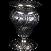 Antique German .800 Sterling Silver Swirl Pattern Flower Vase