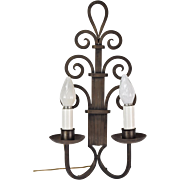 Large 1930s Art Deco Gothic Wrought Iron Scroll Wall Sconce Light Fixture