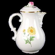 Meissen Hand Painted German Porcelain Flowers Floral Coffee Pot Rosebud Finial