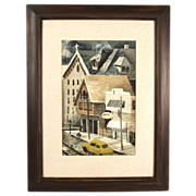 Mid-century Signed Watercolor Street Scene Gift Shop Vintage Automobile