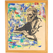 Mid-century Painting of Writer by Theadius McCall African-American Artist